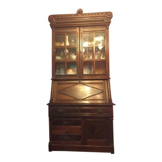 Vintage Wood China Cabinet/Secretary Desk