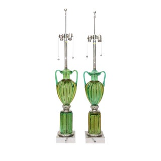Pair of Vintage Murano Emerald Green Glass Lamps by Marbro