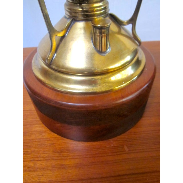 Antique Wired Brass Wood Hurricane Lamp - Image 9 of 9