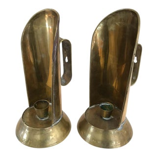 Vintage Brass Candle Holders, Wall Sconces