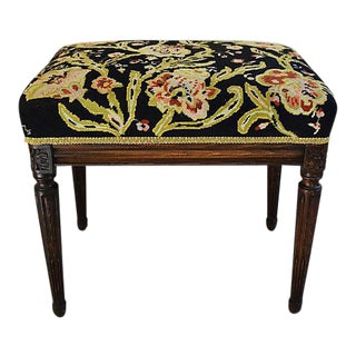 19th- Century Antique French Needlepoint Stool/Bench