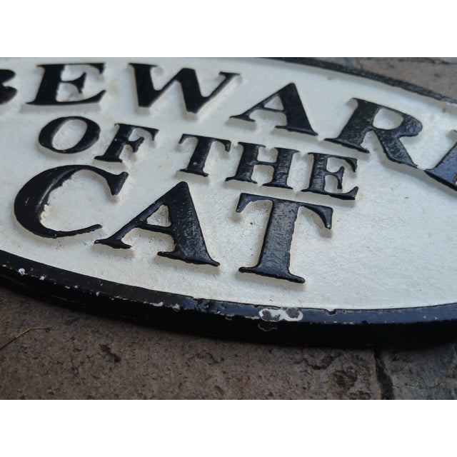 Cast Iron Beware of the Cat Sign - Image 3 of 3