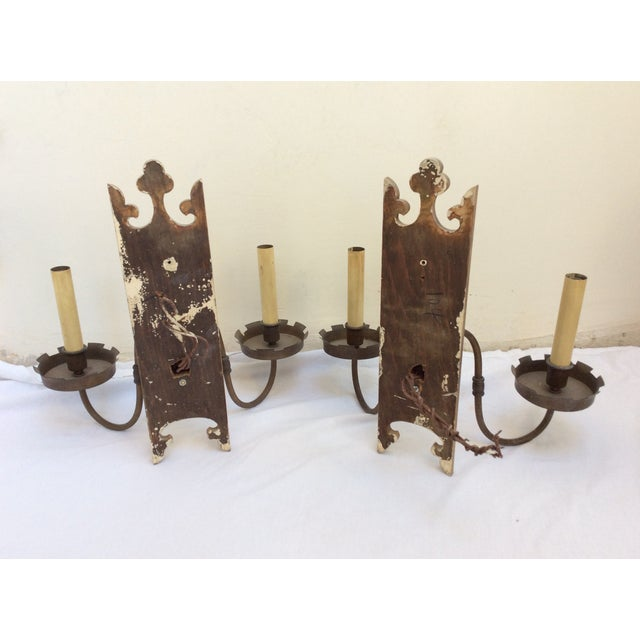 Antique Gothic Wall Sconces : Antique Gothic Themed Gilt Wall Sconces - A Pair Chairish