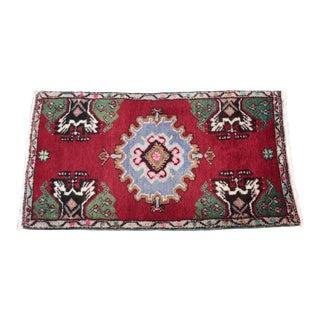Vintage Turkish Anatolian Red Wool Rug -3' 5'' X 1' 10''