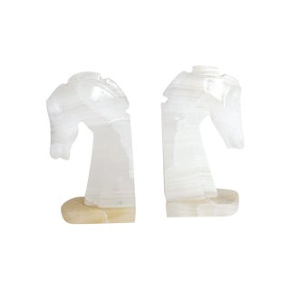 Small Marble Horse Bookends - A Pair