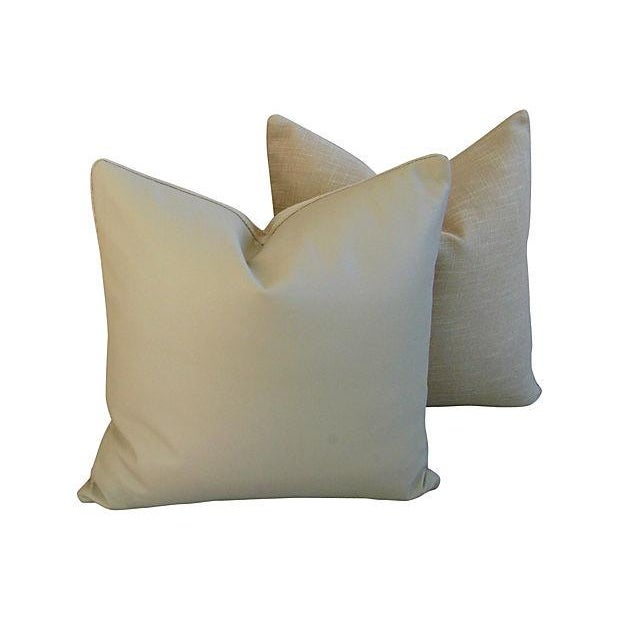 Genuine Italian Sandy Putty Leather Pillows - Pair - Image 4 of 5