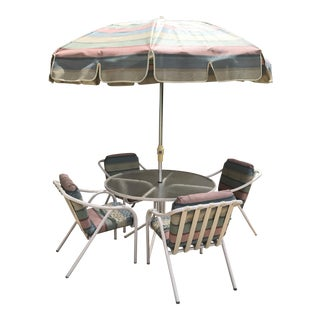 Brown Jordan Paragon Patio Dining Set With Matching Umbrella