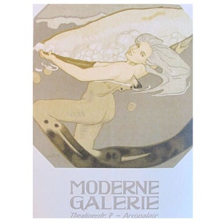 Original 1927 Lithographic Mini Poster of Mermaid