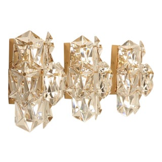 "Outstanding Set of 3 Matching Vintage ""Kalmar"" Austrian Crystal Wall Sconces"