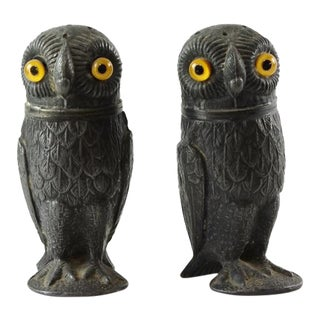 Antique Pewter Owl Pepper Pots with Glass Eyes - A Pair