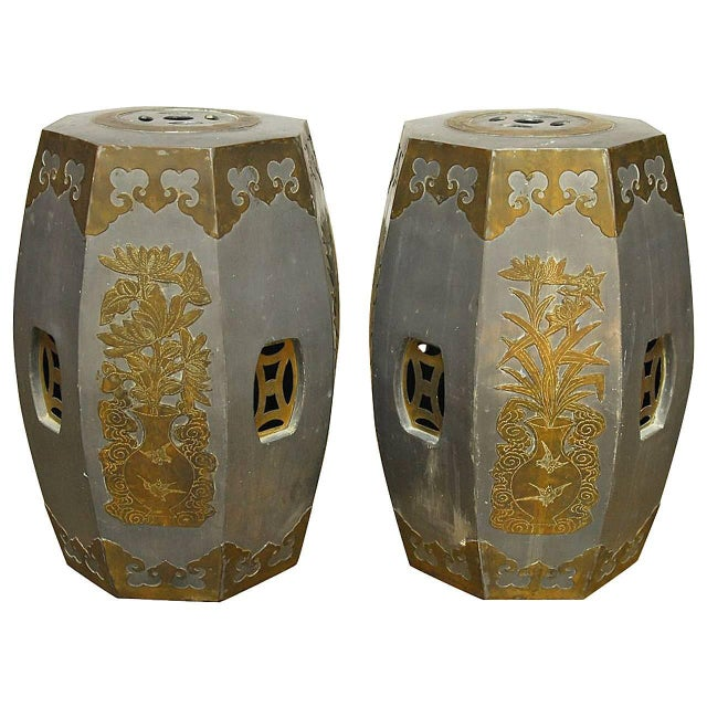Chinese Pewter And Brass Drum Stools - Pair - Image 1 of 5