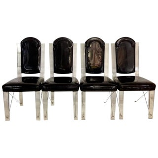 1970s Lucite and Chrome X Base Upholstered High Back Chairs - Set of Four