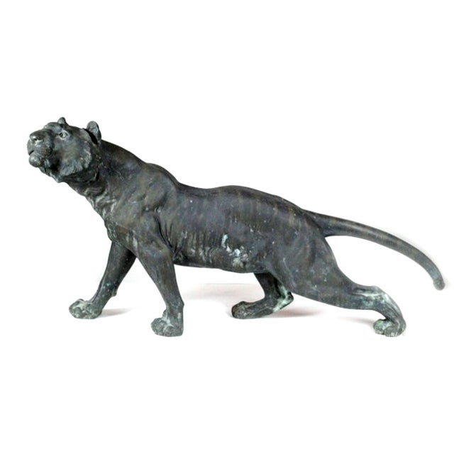 Image of Antique Patinated Bronze Tiger Japan