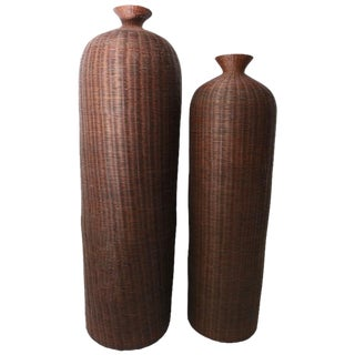 Woven Reed Vase Form Baskets - A Pair