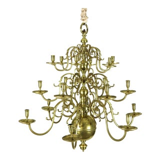 A Dutch Brass triple tier, 18 light Chandelier, circa 1860