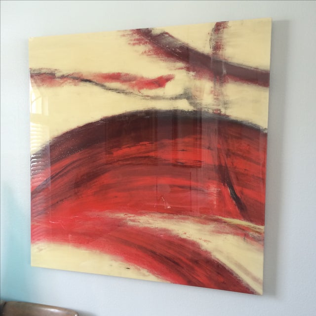Crimson Wash Contemporary Wall Art - Image 3 of 6