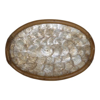 Oval Mother of Pearl Bamboo Tray