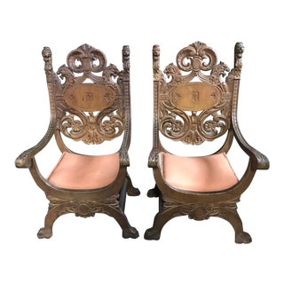 Antique Carved Walnut Chairs - A Pair