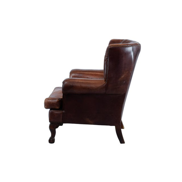 Vintage Leather Wing Back Chair - Image 3 of 4