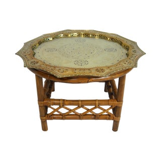 Asian Pierced Brass & Glass Bamboo Table