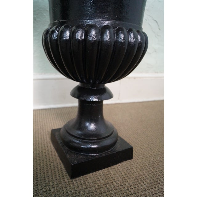 Classic French Style Black Cast Iron Urns - A Pair - Image 4 of 10