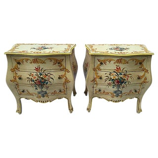 Italian Hand Painted Bombe Commodes - A Pair