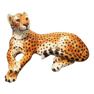 1970's Italian Glazed Ceramic Cheetah