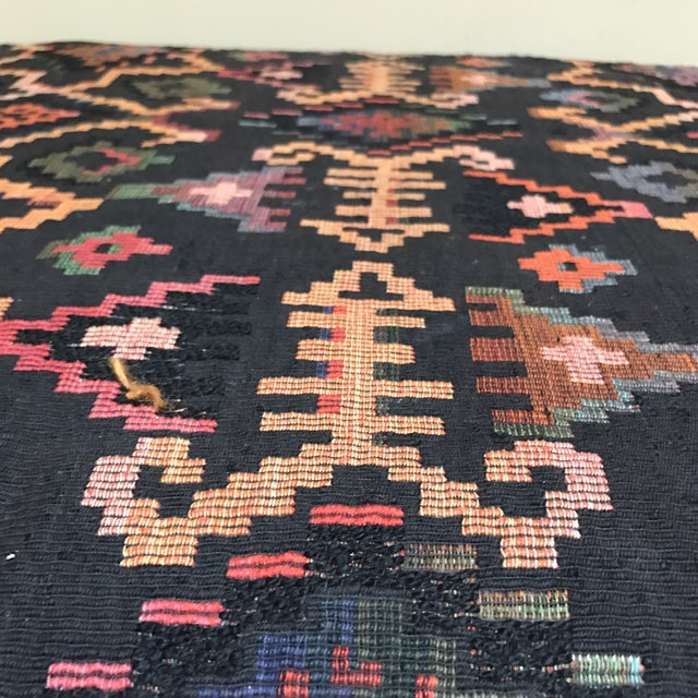 Vintage Woven Upholstered Ottoman - Image 6 of 7