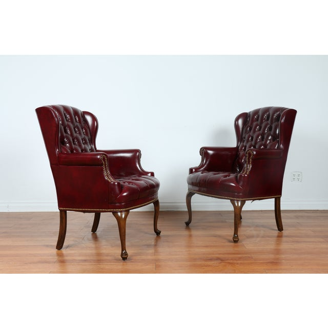 Image of Schaffer Bros Burgundy Leather Chairs - A Pair