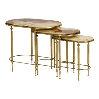 Trio of Stacking Onyx and Brass Tables