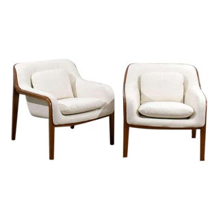 Restored Pair of Bill Stephens Walnut Lounge Chairs in Cream Leather
