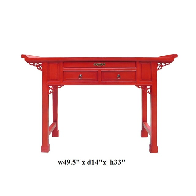 Chinese Red Lacquer Altar Console Table - Image 7 of 7