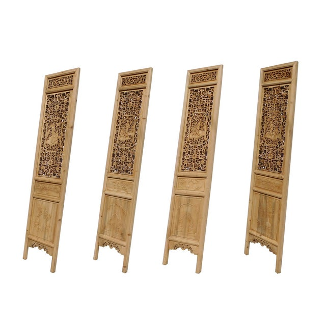 8 Immortals Carved Panel Floor Screens - Set of 4 - Image 5 of 6