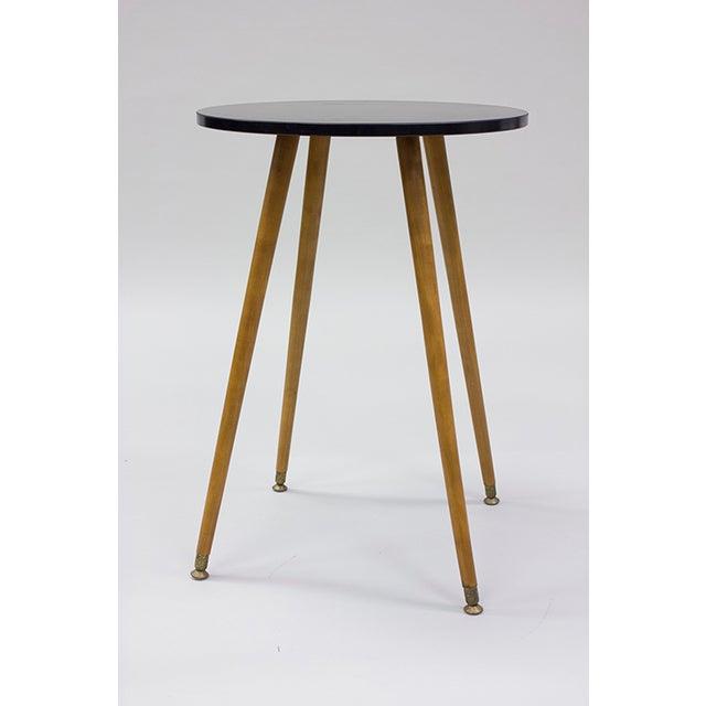 Mid-century Black Laminate & Tall Wood Side Table - Image 2 of 4