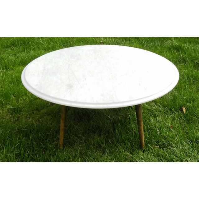 Mid Century Modern Marble Table: Vintage Mid-Century Modern Round White Marble Coffee Table