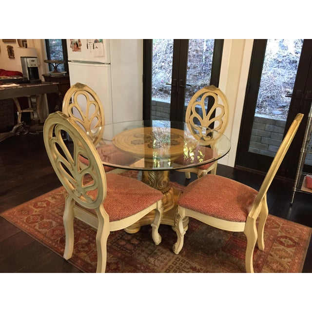 French Style Whitewash Finish Dining Room Table And Chairs Chairish