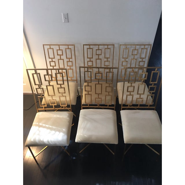 Worlds Away David Gold Iron Chairs - Set of 6 - Image 5 of 11