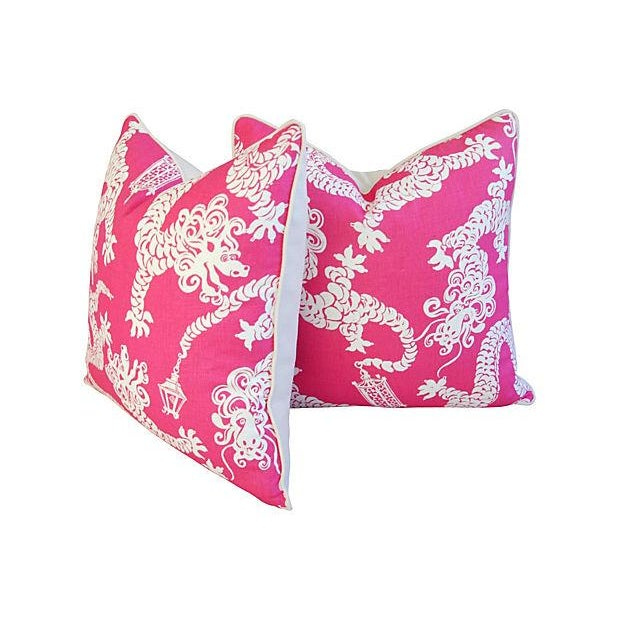 Designer Lee Jofa Lilly Pulitzer Dragon Tail Lights Pink/White Pillows - Pair - Image 6 of 7