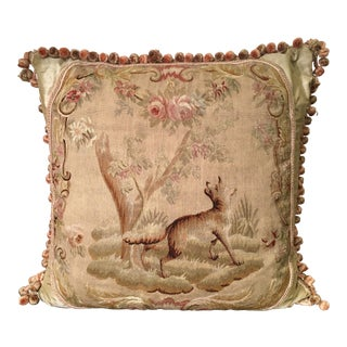 Antique Aubusson Textile Scenic Tapestry Pillow