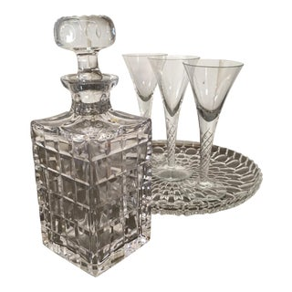 Vintage Crystal Decanter Glasses & Tray - Set of 5