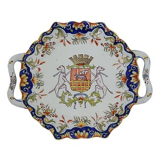 French Faience Crested Serving Plate
