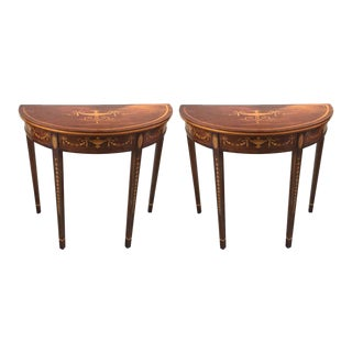Hepplewhite Style Mahogany & Satinwood Demilune Consoles - A Pair