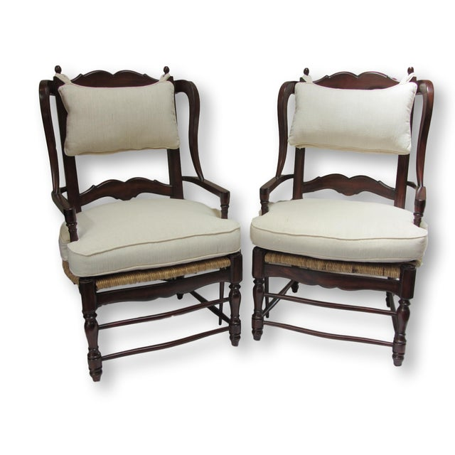 Image of Large Ladder Back Wing Chairs - Pair