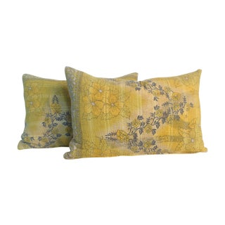 Vintage Yellow Kantha Quilt Pillows - A Pair