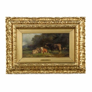 """Voltz """"Cowherd and Cattle Resting"""" Painting"""