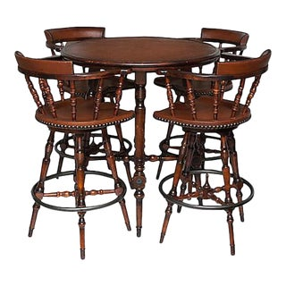 Spanish Colonial Style Game Table & Chairs Set - Set of 5
