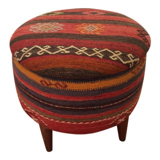 Vintage Kilim Storage Ottoman