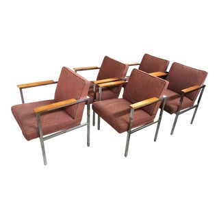 1960's Mid-Century Modern Chrome & Walnut Armchairs - Set of 5