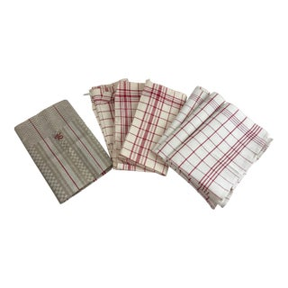 Antique Red Striped Linen Towels - Set of 7
