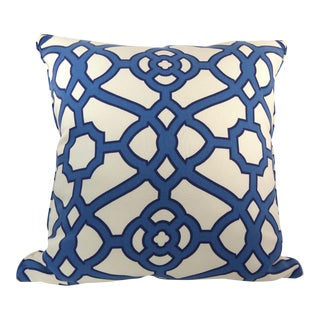Blue & White Cotton Latice Style Pillow